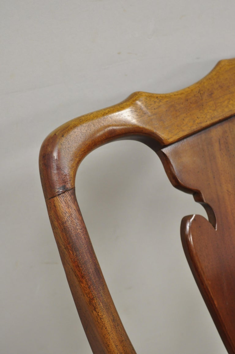 Vintage Solid Cherrywood Queen Anne Style Stretcher Base Dining Side Chairs For Sale 4