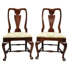 Vintage Solid Cherrywood Queen Anne Style Stretcher Base Dining Side Chairs