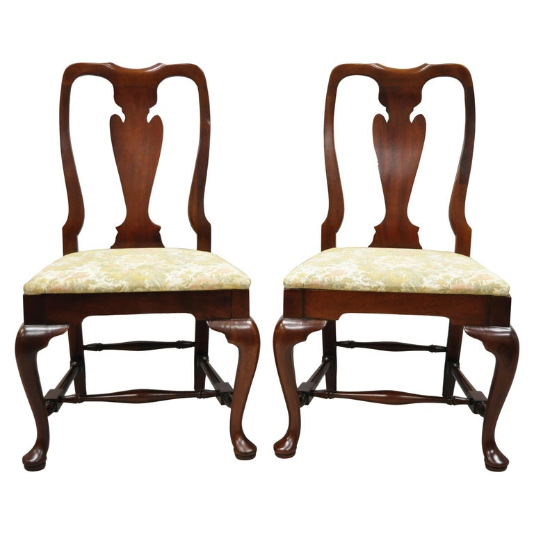 Vintage Solid Cherrywood Queen Anne Style Stretcher Base Dining Side Chairs For Sale