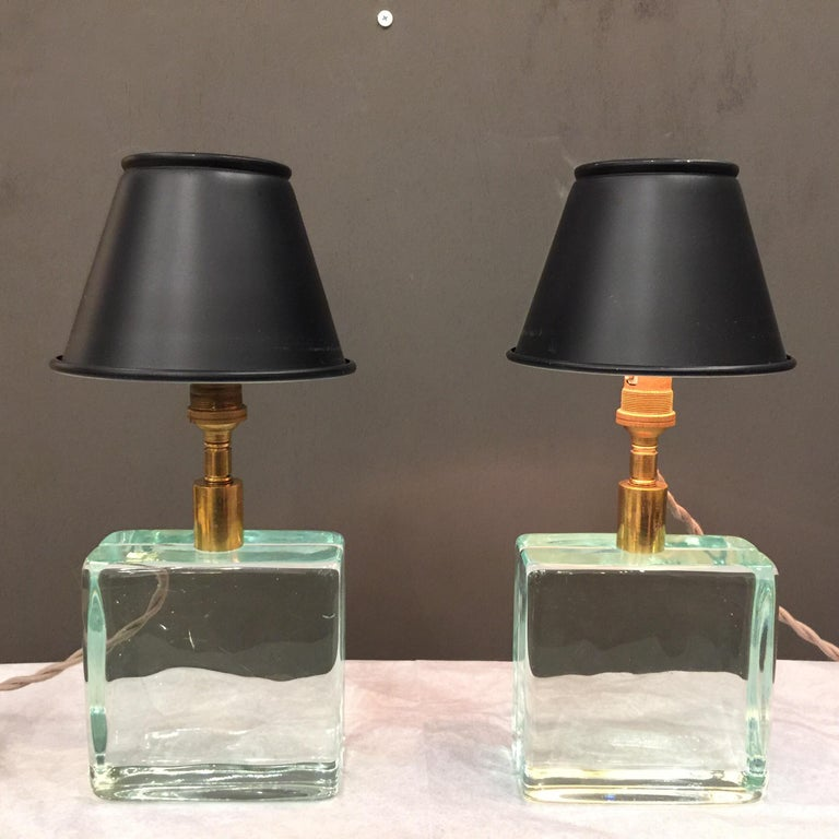 Italian Vintage Solid Green Glass Brick Table Lamps, Pair For Sale