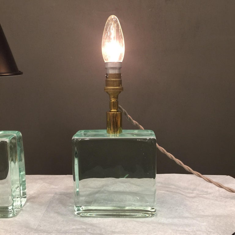 Vintage Solid Green Glass Brick Table Lamps, Pair In Good Condition For Sale In East Hampton, NY