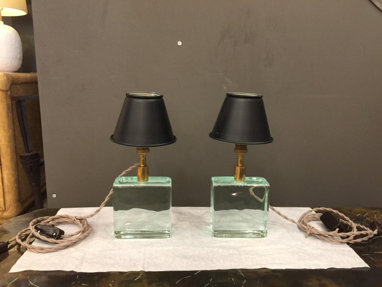 Vintage Solid Green Glass Brick Table Lamps, Pair For Sale 1
