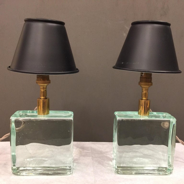 Vintage Solid Green Glass Brick Table Lamps, Pair For Sale 2