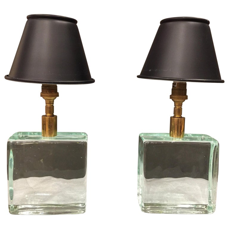 Vintage Solid Green Glass Brick Table Lamps, Pair For Sale