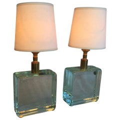 Vintage Solid Green Glass Brick Table Lamps, Pair