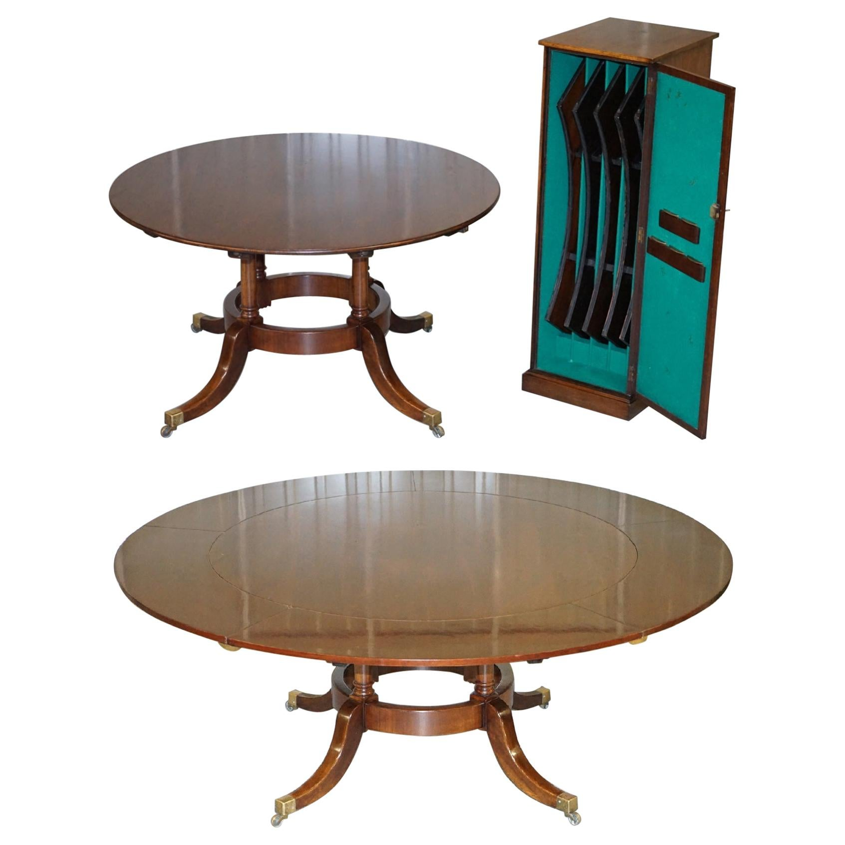 Vintage Solid Mahogany Extending Round Jupe Dining Table with Cabinet & Fittings