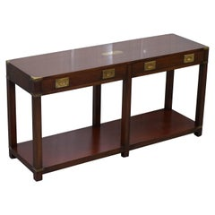 Vintage Solid Mahogany Military Campaign Bevan Funnell Console Table Sideboard