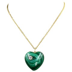 Vintage Solid Malachite and Diamond Heart Pendant