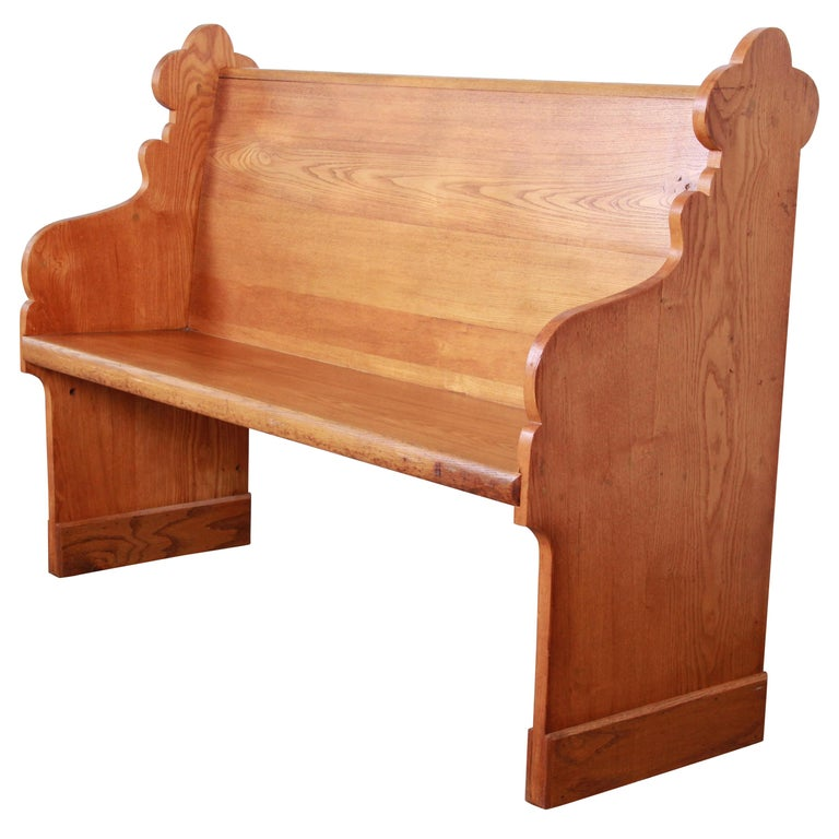 Surprising Vintage Solid Oak Gothic Cathedral Church Pew Or Bench Caraccident5 Cool Chair Designs And Ideas Caraccident5Info