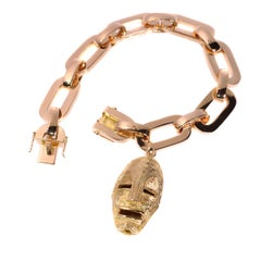Vintage Solid Pink Gold Heavy Bracelet with Yellow Gold Ethnic African Mask