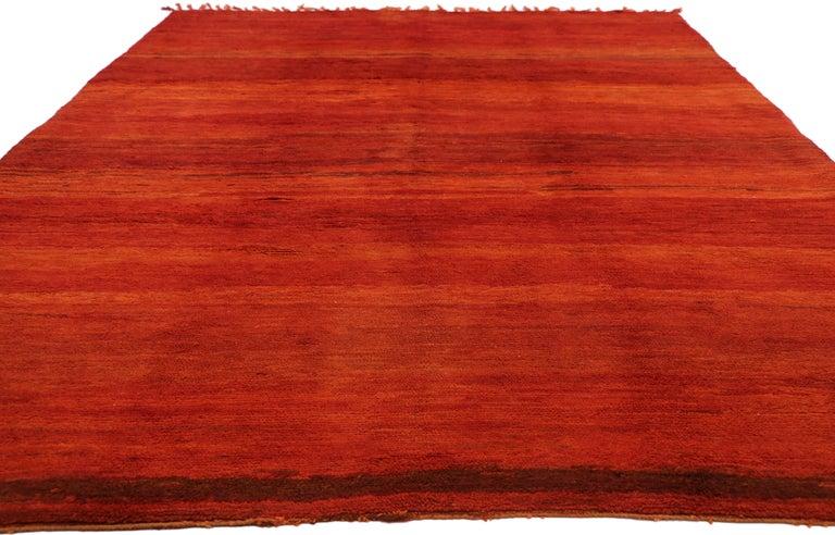 Post-Modern Vintage Solid Red Beni Mrirt Carpet, Berber Moroccan Rug with Postmodern Style For Sale