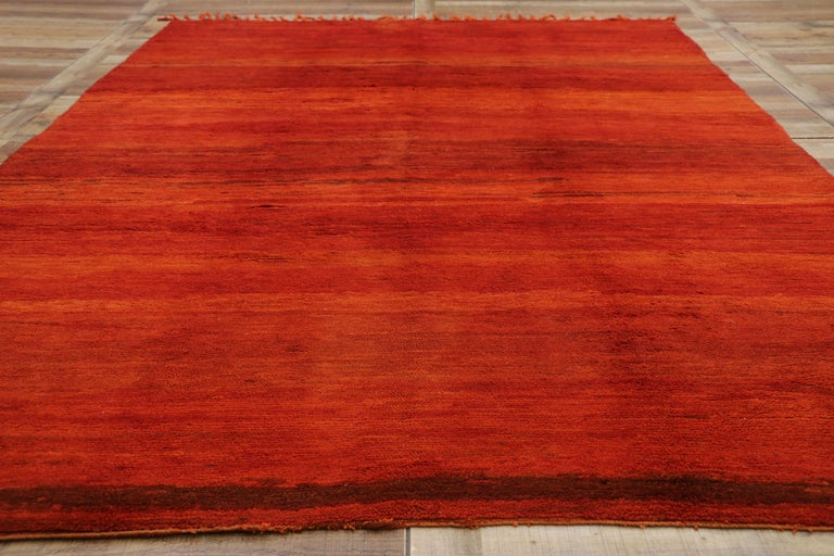 Wool Vintage Solid Red Beni Mrirt Carpet, Berber Moroccan Rug with Postmodern Style For Sale