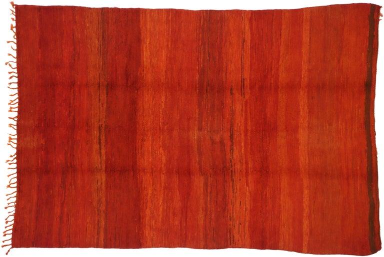 Vintage Solid Red Beni Mrirt Carpet, Berber Moroccan Rug with Postmodern Style For Sale 2