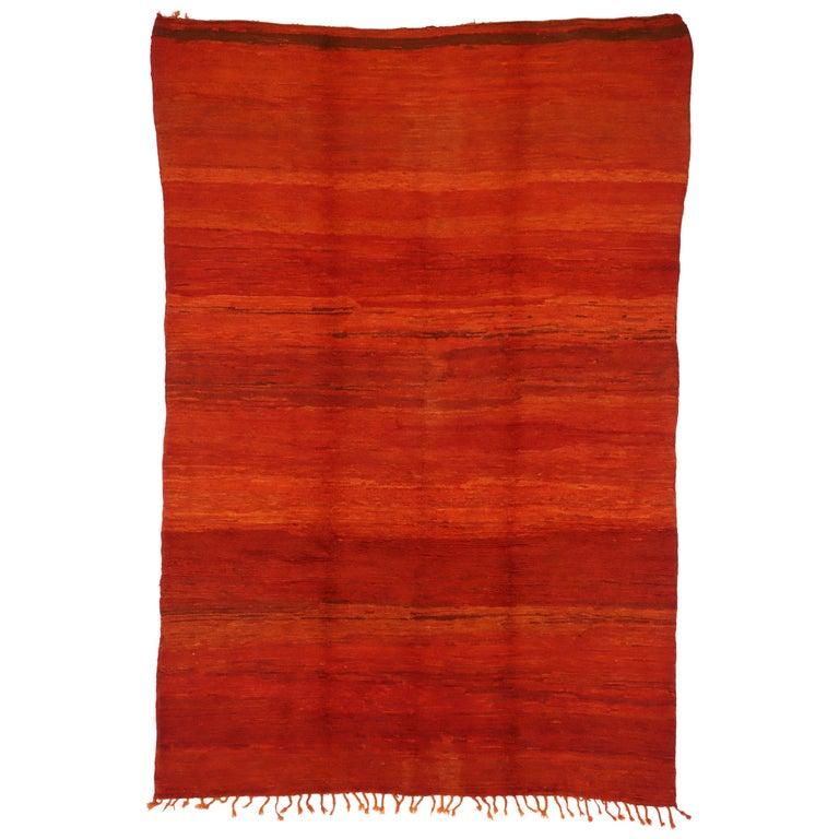 Vintage Solid Red Beni Mrirt Carpet, Berber Moroccan Rug with Postmodern Style For Sale