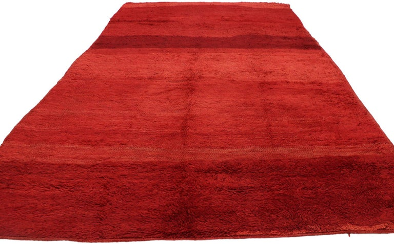 Modern Vintage Solid Red Beni Mrirt Moroccan Rug, Berber Shag Rug with Abstract Style For Sale
