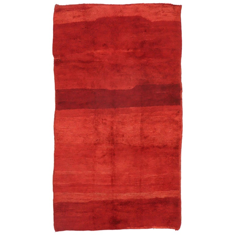 Vintage Solid Red Beni Mrirt Moroccan Rug, Berber Shag Rug with Abstract Style For Sale