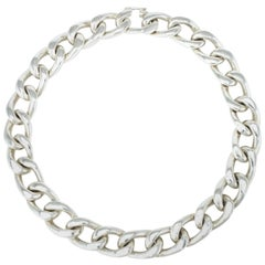 Vintage Solid Silver Heavy Curb Link Necklace 286grms, 1980s