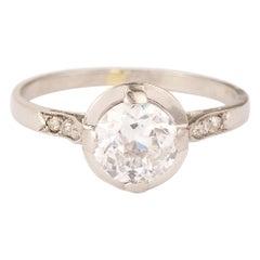 Vintage Solitaire 1.20 Carats Diamond Platinum Ring