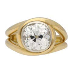 Vintage Solitaire Cushion Shape Old Mine Diamond Ring, French, circa 1950
