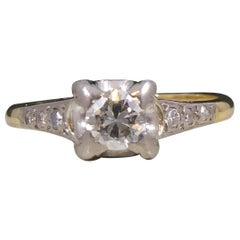 Vintage Solitaire Diamond Ring, Four Claw Set, Diamond Set Shoulders