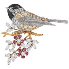 Vintage Song Bird on Tree branch Diamond Ruby Platinum Pin Brooch