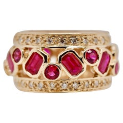 Vintage Sonia B. Ruby and Diamond Yellow Gold Band