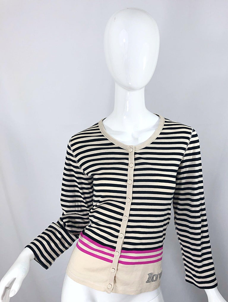 Chic 90s SONIA RYKIEL black, ivory and bubblegum pink rhinestone encrusted 'LOVE' cardigan top! Buttons of the front, with the word, LOVE encrusted in rhinestones at left waist. Small rhinestone encrusted