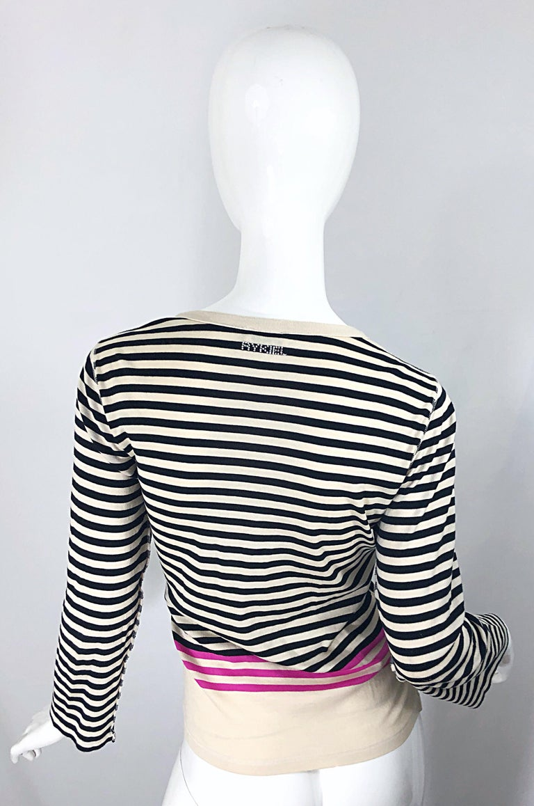 Vintage Sonia Rykiel 1990s 'Love' Rhinestone Striped Black Ivory Pink Cardigan In Excellent Condition For Sale In Chicago, IL