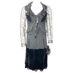 Vintage Sonia Rykiel Black Lace and Velvet Slip Dress with Jacket Set, Size 38