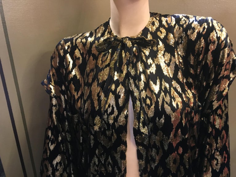 1980's Sonia Rykiel France Evening Wear Lightweight Silk Velvet Lame Duster  For Sale 7