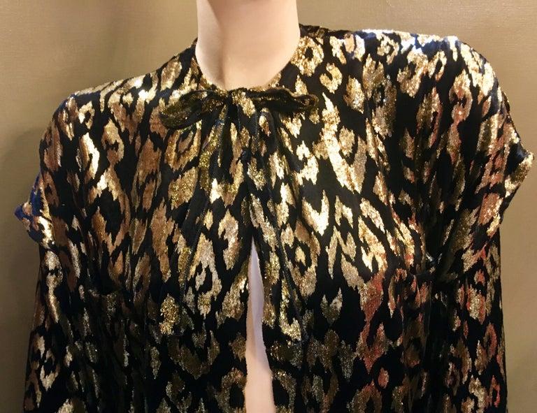 1980's Sonia Rykiel France Evening Wear Lightweight Silk Velvet Lame Duster  For Sale 8