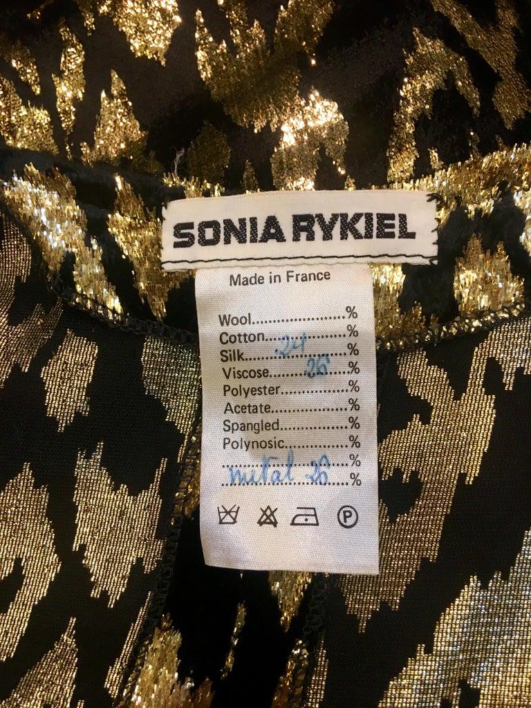 1980's Sonia Rykiel France Evening Wear Lightweight Silk Velvet Lame Duster  For Sale 10