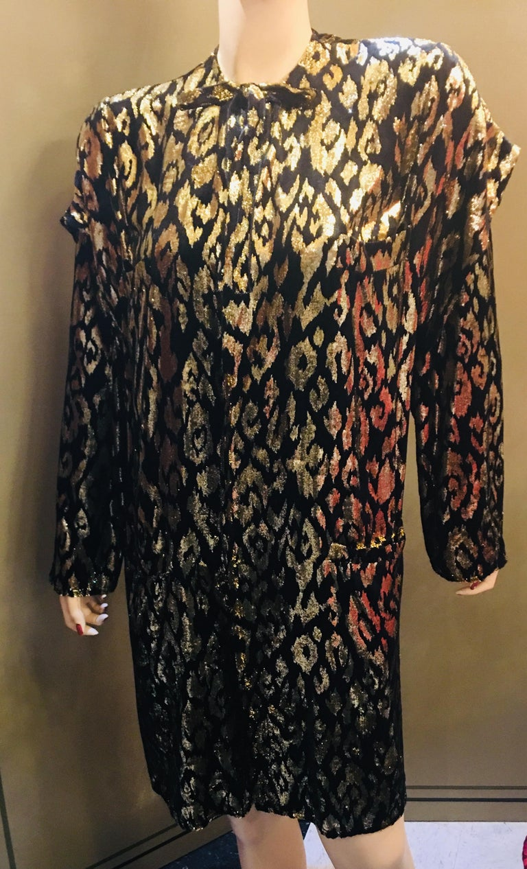 Exquisite 1980's evening wear coat, jacket, blazer or duster is lightweight, vented and easy to wear for dining, parties and dancing, with an animal patterned, soft silk velvet and shiny gold lame metallic velvet effect.  Collarless coat features