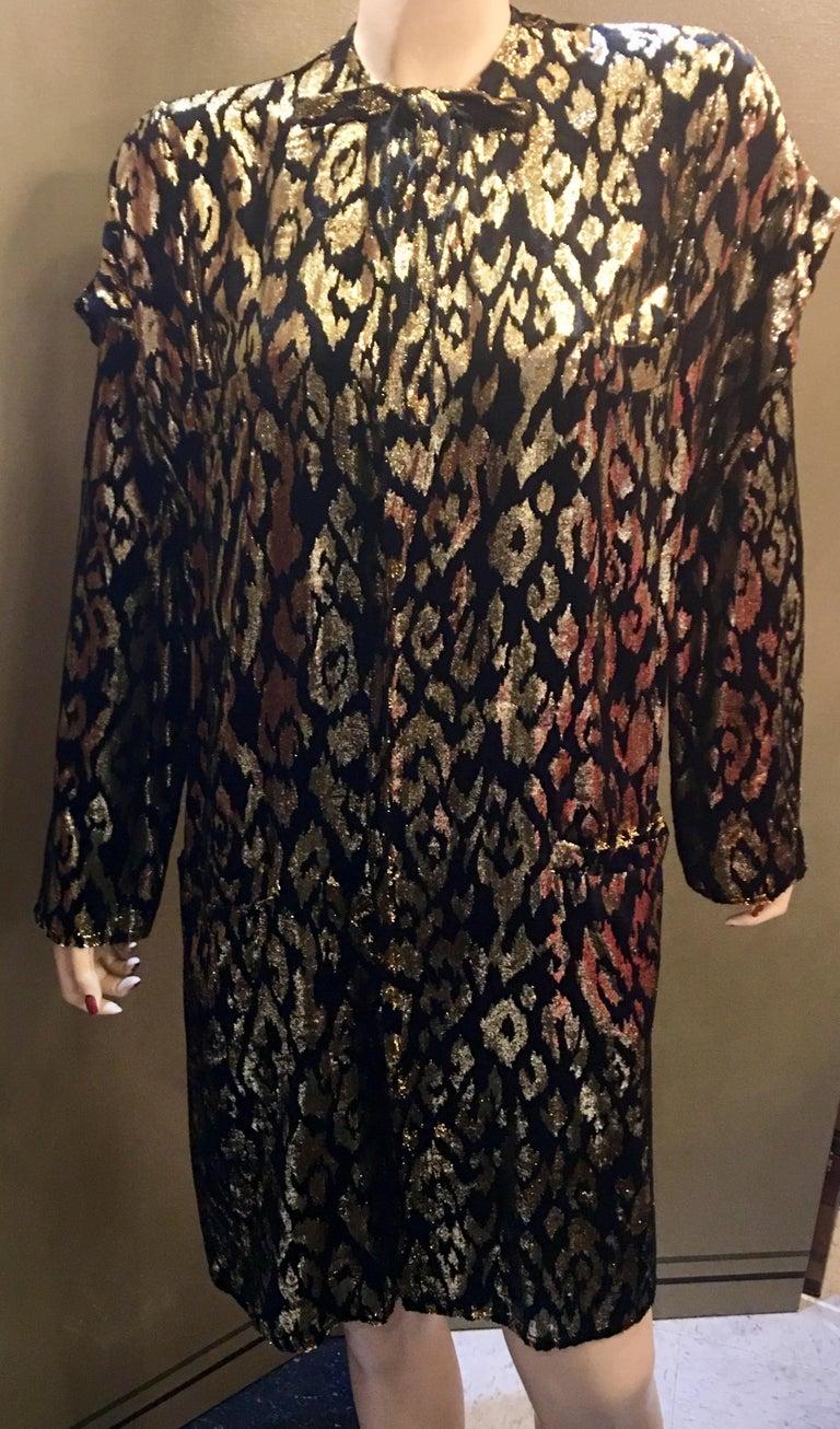 Black 1980's Sonia Rykiel France Evening Wear Lightweight Silk Velvet Lame Duster  For Sale