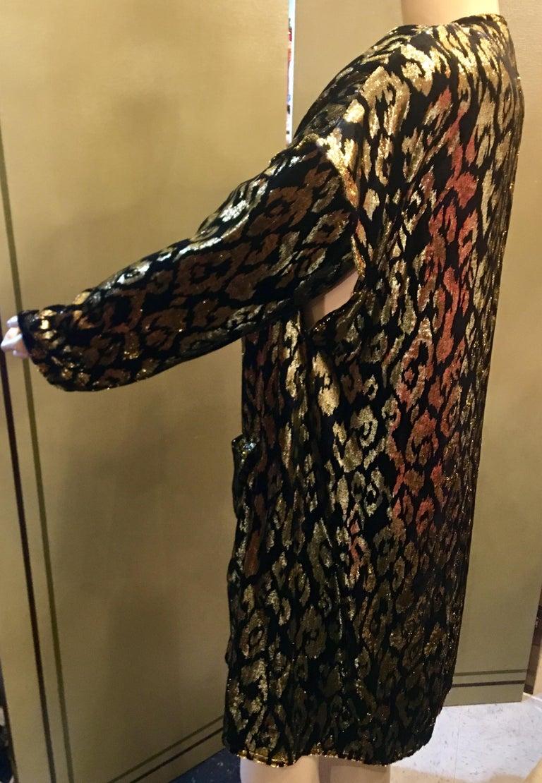 Women's 1980's Sonia Rykiel France Evening Wear Lightweight Silk Velvet Lame Duster  For Sale