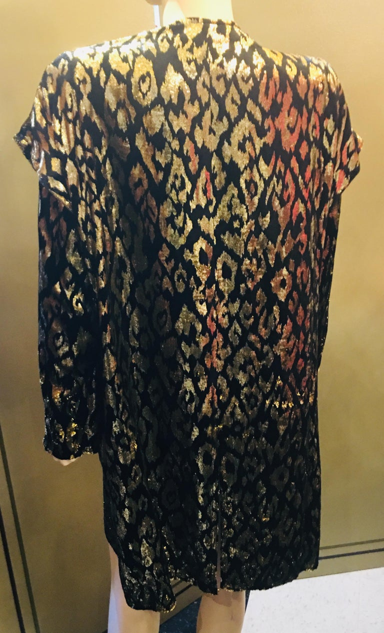 1980's Sonia Rykiel France Evening Wear Lightweight Silk Velvet Lame Duster  For Sale 1