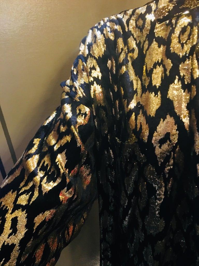 1980's Sonia Rykiel France Evening Wear Lightweight Silk Velvet Lame Duster  For Sale 3