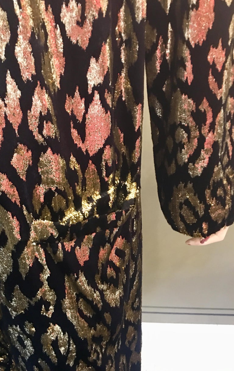 1980's Sonia Rykiel France Evening Wear Lightweight Silk Velvet Lame Duster  For Sale 4