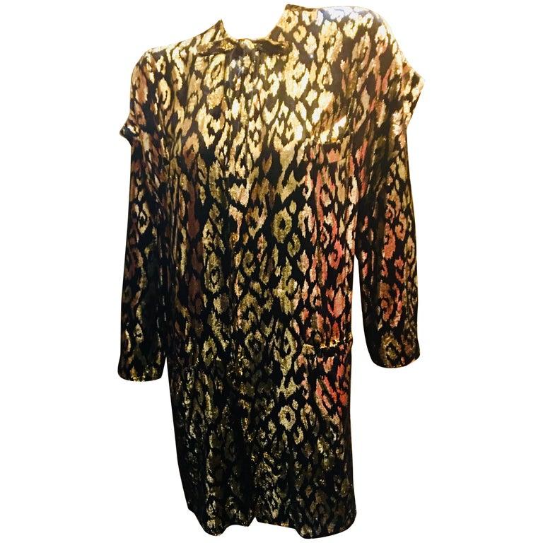 1980's Sonia Rykiel France Evening Wear Lightweight Silk Velvet Lame Duster  For Sale