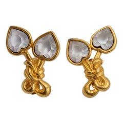 Vintage Sonia Rykiel Glass Hearts Clip-on Earrings 1990's