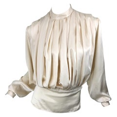 Vintage Sonia Rykiel Ivory Off White Size 40 / 8-10 Silk Pleated 90s Blouse Top