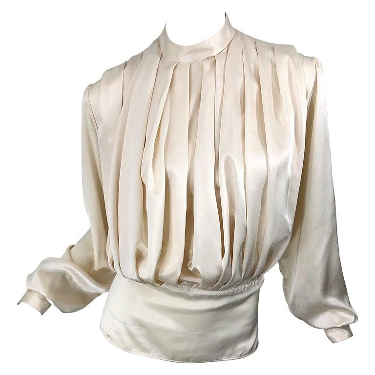 Vintage White Silk Blouse