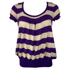 Vintage Sonia Rykiel Purple and Cream Striped Top, Size 38