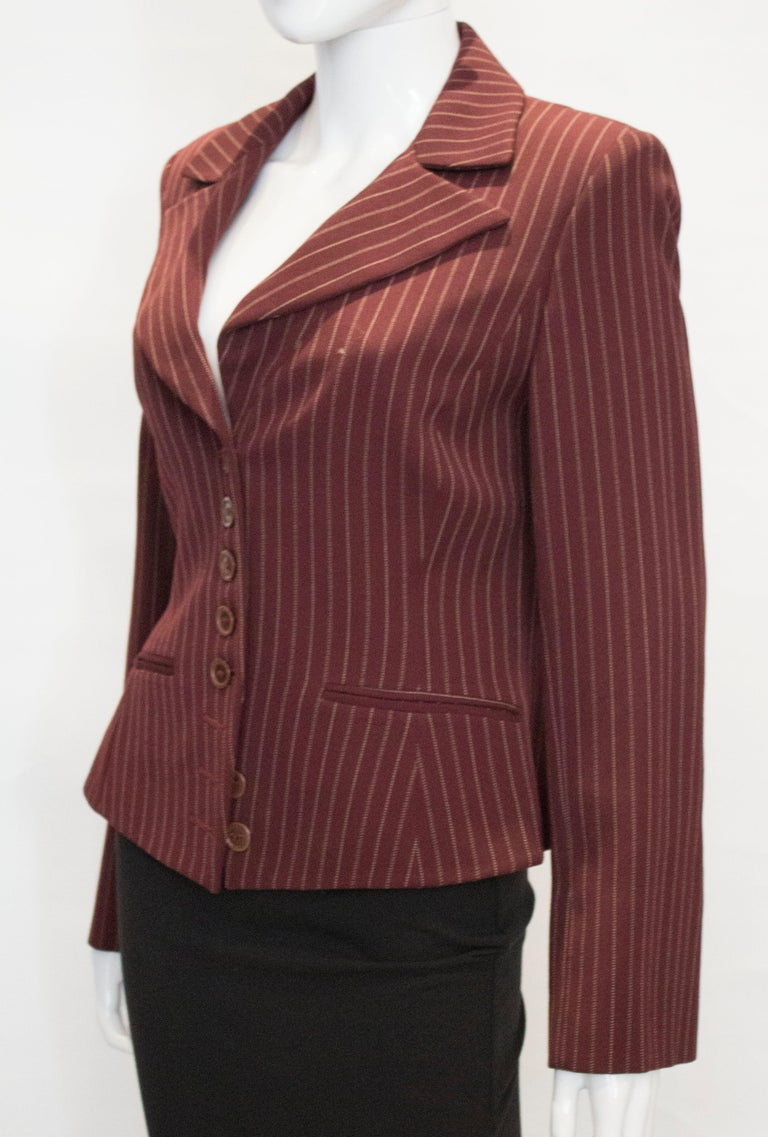 Vintage Sophie Sitbon Paris Pinstripe Jacket In Good Condition For Sale In London, GB