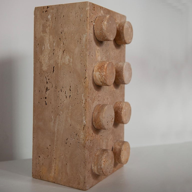 Italian Sound System in Travertine Marble For Sale