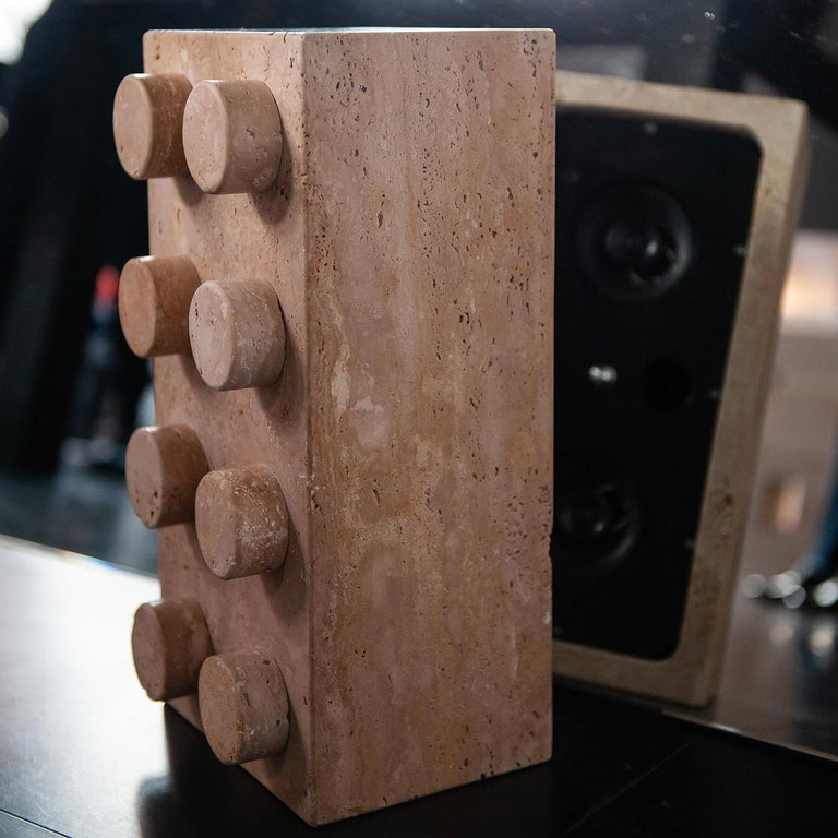 Contemporary Sound System in Travertine Marble For Sale
