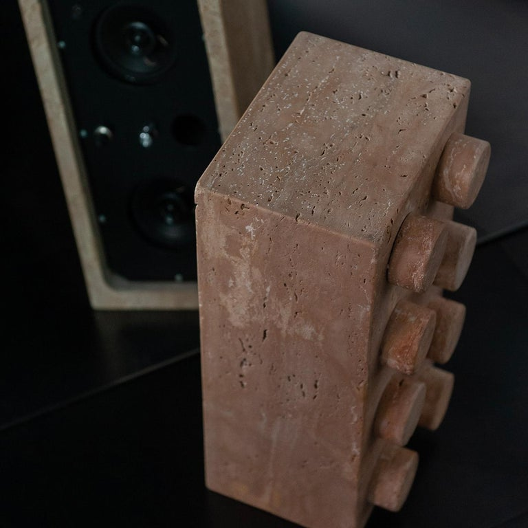 Metal Sound System in Travertine Marble For Sale