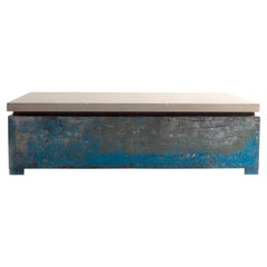 Vintage South Asian Storage Bin with Limestone Top as Coffee Table