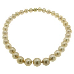 Vintage South Sea Golden Pearls Diamond Gold Necklace