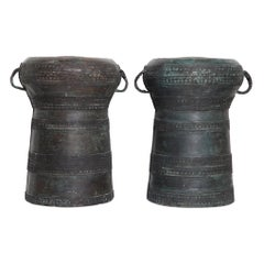 Vintage Southeast Asian Bronze Rain Drums